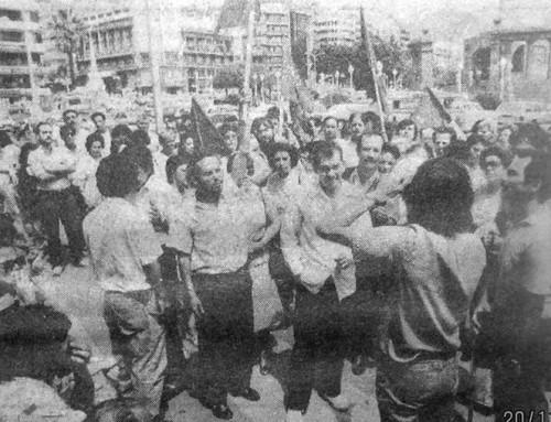22 de abril de 1987: El personal de hospitales del Cabildo protesta ante la sede de la Corporación